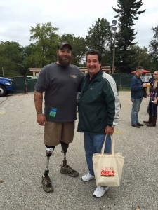 Having a good time with wounded army veteran and Hero Mike Cain at 93.1 WPOC Weekend in the country